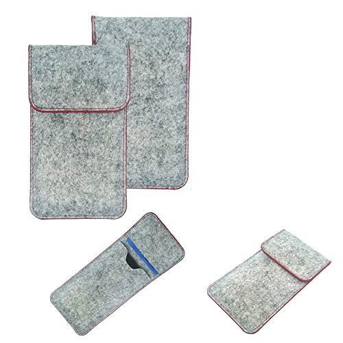 K-S-Trade Handy Schutz Hülle Kompatibel Mit Vestel 5530 Schutzhülle Handyhülle Filztasche Pouch Tasche Hülle Sleeve Filzhülle Hellgrau Roter Rand + Kopfhörer