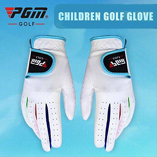 PGM Mikrofaser Unisex Junior Golf Handschuhe, Pink und Weiß Farbe für Ihre Wahl, Stück 1Paar, Jungen Mädchen, weiß