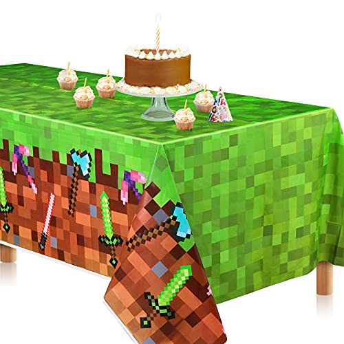 """Pixel Miner Crafting Style Tablecloth,Extra-Large 108""""x54"""" Mine Crafting Creeper Disposable Table Covers, Ideal for Girls Boys Pixel Mining Birthday Party Supplies Decoration (1)"""