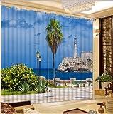 chinawh Decoración del hogar Ventana Curtaion Impresión 3D Cortina Opaca Paisaje del mar Cortinas para Sala de Estar Dormitorio Cortinas Personalizadas wide264cm high160cm