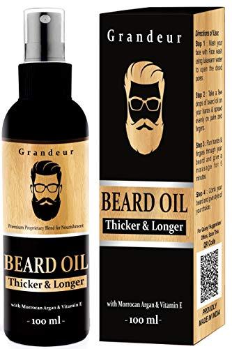 Grandeur Mooch And Beard Oil For Men For Thicker & Longer Beard- 100mL with Vitamin E & Argan Oil