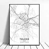 Bytfaa Impresión HD Toledo España Lienzo Arte Mapa Cartel Pintura de Pared decoración del hogar 50x70cm