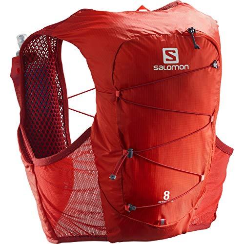 Salomon Active Skin 8 Set Unisex Trail Running Vest Backpack, Valiant Poppy/Red Dahlia, Small