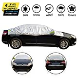 OMIGAO Windshield Snow Cover, Half Car Cover Top Waterproof All Weather/Windproof/Dustproof/Windshield Cover Snow Ice Winter Summer for Sedan SUV. Protect All Your Windshield and roof