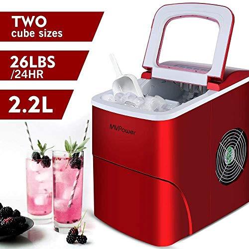 MVPower Eiswürfelbereiter/Eiswürfelmaschine / 12kg Eiswürfel (26 lbs) / Produktionszeit 6-13 Minuten / 2 Eiswürfel-Größen / 80W~120W / 2.2L Wassertank/ohne Wasseranschluss/Rote Ice Maker