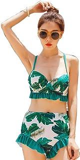 敵塩シリーズAJun 水着 レディース ビキニ ハイウエスト 体型カバー 花柄 ビスチェ風 大きいサイズ 2点セット バスト盛れる ワイヤー フレア フリル かわいい 紫外線防止 水泳 海水浴 温泉水着 フィットネス セクシー
