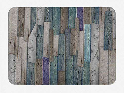Yaoni Rustikale Badematte, Bild von blau grau Grunge Holzplanken Scheune Haus Türnägel Landleben Thema Druck, Plüsch Badezimmer Dekor Matte mit Rutschfester Rückseite,...