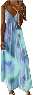 Women Plus Size Summer Casual Dress, Ladies V-neck Floral Printed Sleeveless Party Long Dress