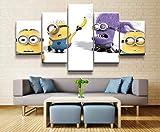5 piezas cuadro en lienzo Cuadro compuesto por 5 lienzos impresos en HD, utilizados para decoracin del hogar y carteles Pelcula de dibujos animados Minions (150x80cm sin marco)