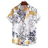 GBEN Camisa de lino para hombre, estilo vintage étnico, manga corta, verano, informal, holgada, de manga corta