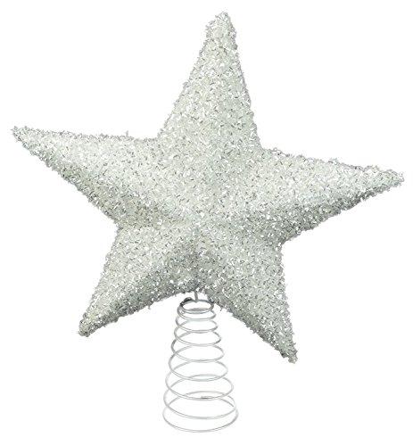 26cm Blanca brillantes Tree Top estrellas - Decoraciones de Navidad - Adornos del árbol de navidad