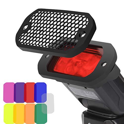 AODELAN Blitz Filter Kamerablitz Gel Beleuchtungsfilter Farbfolien Gitter & Farbiges Gel Filterset mit dem Magnetischen Stapelbaren System für Canon Nikon Sony Godox Yongnuo Speedlite