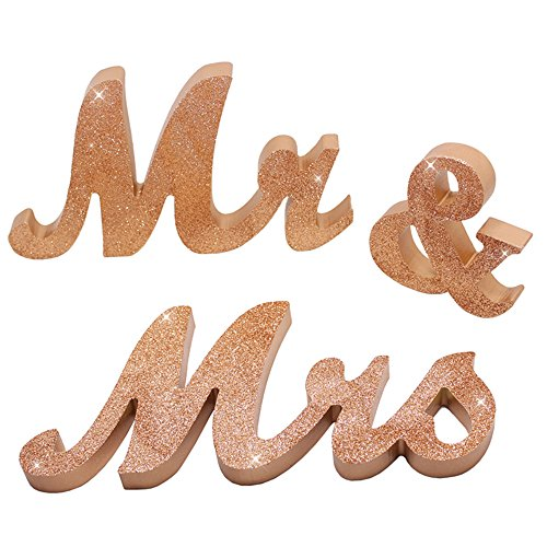 senover Mr and Mrs Sign Wedding Sweetheart Table Decorations,Mr and Mrs Letters Decorative Letters for Wedding Photo Props Party Banner Decoration?Wedding Shower Gift (Rose Gold Glitter)