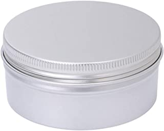 Fan-Ling Aluminium Round Storage Box,Empty Cosmetic Pot Jar,Tin Container, Silver Color Box Screw Lid Craft, Storage Case for lip balms, lip gloss, mini candles, cosmetics, sample pots, herbs, nai (C)