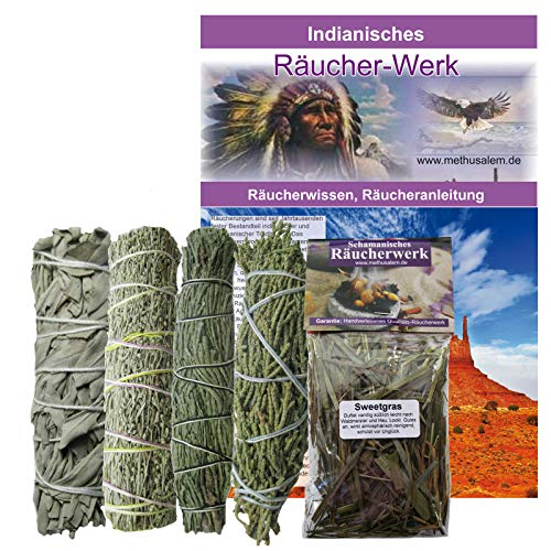 Indianisches Räucherset 6-teilig Sage Präriebeifuß Zedernspitzen Wacholderspitzen Smudge Sticks + Sweetgrass 60ml + Booklet INDIANISCHES RÄUCHERWISSEN. 81014