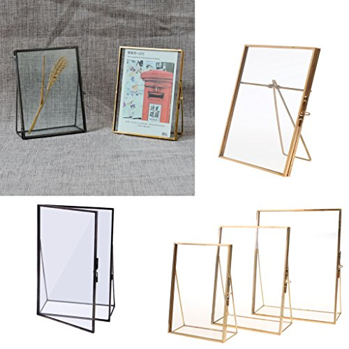 DIAZ Woondecoratie Eenvoudig Antiek Goud Rechthoek Glas Fotolijst Opvouwbare Desktop Picture Messing Frames voor Portretten en Landschap, 5x7in