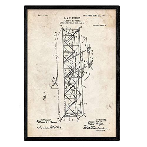 Nacnic Poster con Patente de Maquina voladora 4. Lámina con diseño de Patente Antigua en tamaño A3 y con Fondo Vintage