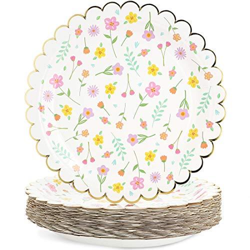 Blue Panda 48 platos de papel para fiesta floral con borde festoneado de lámina dorada, 22,86 cm