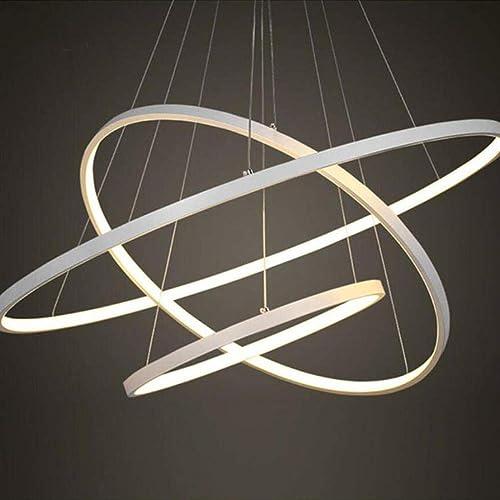 Éclairage suspendu moderne salon salle à hommeger 4 3 2 1 anneaux Cercle corps en aluminium acrylique Lampe LED, Dia 20cm, or, peut être obscurci