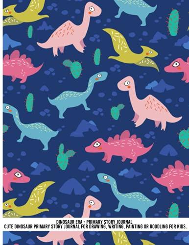 Dinosaurio Era - Diario de historia primaria lindo dinosaurio patrón de diario para dibujar, escribir, pintar o garabatear para niños. Línea media punteada para mujeres, regalo...