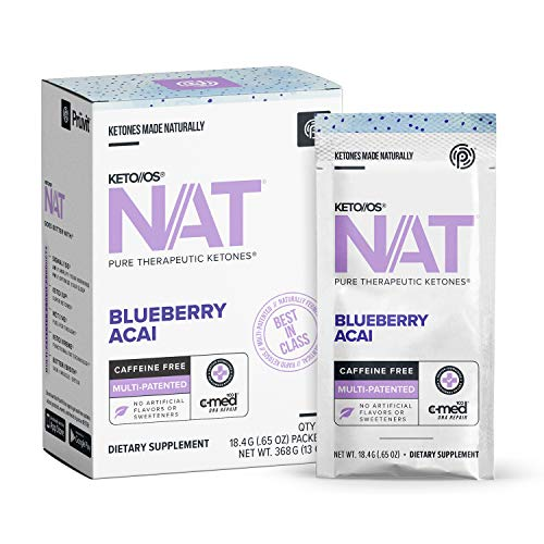 KETO//OS Nat® Blueberry Acai Keto Supplements – Caffeine Free - Exogenous Ketones - BHB Salts Ketogenic Supplement for Workout Energy Boost - Fat Burner Supplements for Men and Women (20 Count)