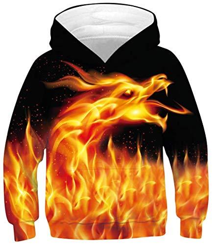 RAISEVERN Kids Hoodies Cool Orange Dragon Sweatshirts for Boys Girls Hooded Sweatshirt Sweatshirt Pocket Pullover Hoodie 9-11 Years