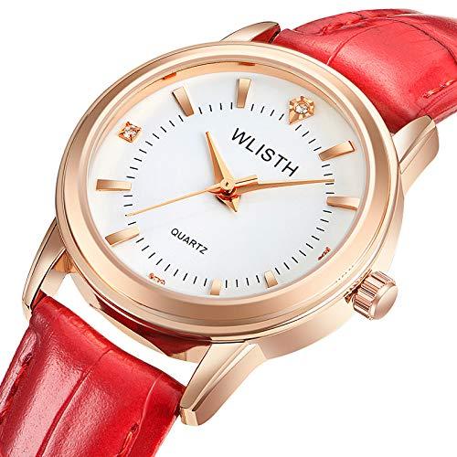 ZWH Wo li shi wlisth Marca Pareja Reloj cinturón señoras Impermeable Moda Reloj Oro Shell Estudiante Mesa (Color : C)