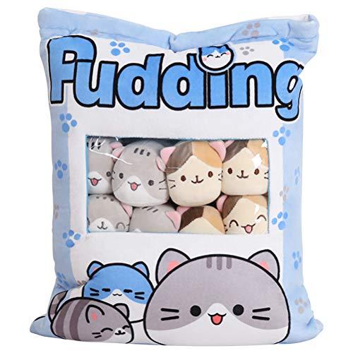 Stecto Almohada de Peluche Juguetes Cute Catty Kawaii Plush Snack Pillow Pudding Decorativo Animal Dolls Bed Couch Regalos Creativos para Adolescentes niños Mujeres