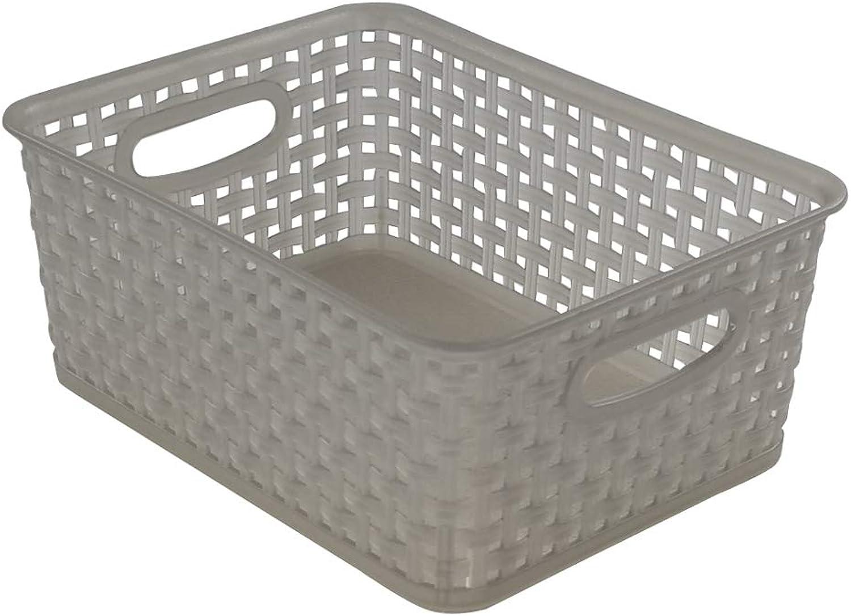 Jekiyo Grey Plastic Pantry Storage Baskets Bins, 4-Pack