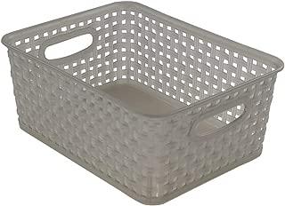 Jekiyo Grey Plastic Pantry Storage Baskets/ Bins, 4-Pack