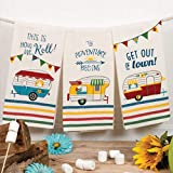 Camping Kitchen Tea Towels by Kay Dee Designs with Retro RV Camping Car Fun Theme 3pc Set