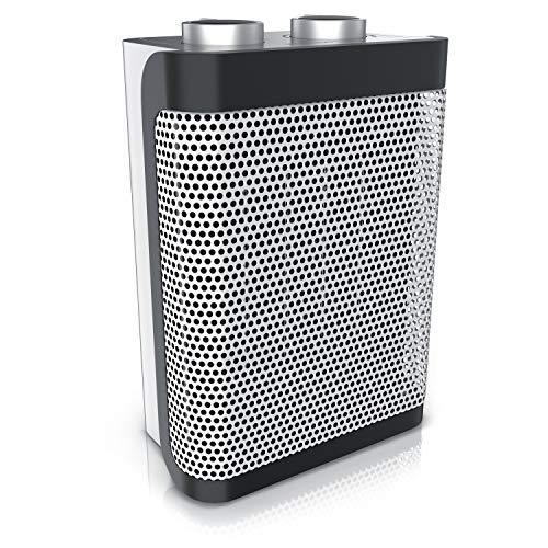 Brandson - Keramik Heizlüfter - 2 Leistungsstufen - stufenlose Temperaturregelung - 1500 Watt - Heizlüfter Badezimmer energiesparend leise - Überhitzungsschutz Umkippschutz - Heizung Heater