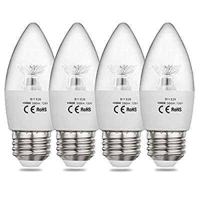 CPLA LED Chandelier Bulbs 60W Equivalent with Medium Screw Base