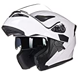X.N.S(希望)MOTO WOLF新色出荷多色可選 バイク ヘルメット フルフェイス ジェット ダブルシールド システム ヘルメット (M, ホワイト)