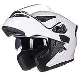 X.N.S(希望)XNS-902 バイクヘルメット フルフェイス ジェット ダブルシールド システムヘルメット (L, ホワイト)