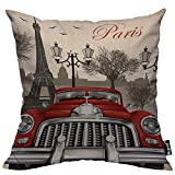 Almohada de Estampado, Almohada Pattern, Funda de cojín Throw Pillow para Cama sofá Sala de Estar Dormitorio,Coche Retro París Torre Effiel Árbol Ave Farola Viaje Viaje Rojo