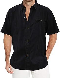 قمصان رجالية من Pengfei فضفاضة تناسب Guayabera من الكتان قمصان كاجوال بأزرار سفلية للشاطئ