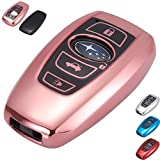 Lcyam Key Fob Cover Smooth Glossy Case Fits for 5 Button Subaru WRX Outback Ascent Forester Crosstrek Legacy Impreza Smart Remote Fob Keys 2018 2019 2020 (Pink)