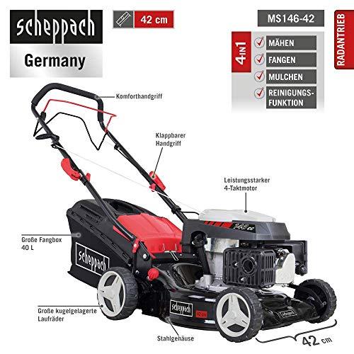 Scheppach MS146-42 Benzinrasenmäher 4 in 1 2,6 KW 146 CCM 40 L mit Reinigungsfunktion
