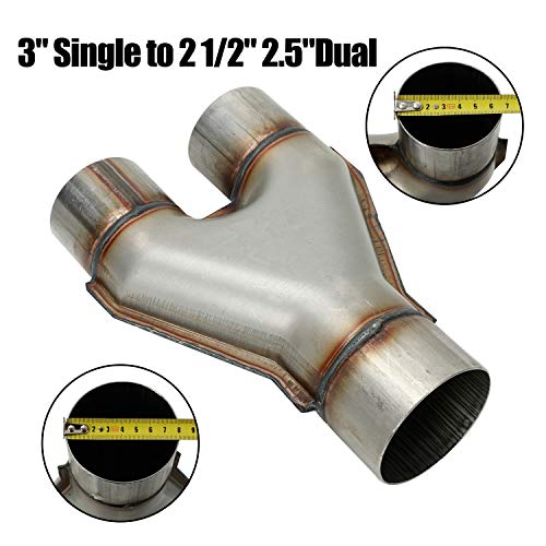 """LucaSng T409 Stainless Steel Y Pipe 3"""" Single to 2 1/2"""" 2.5"""" Dual Exhaust Adapter Connector,Overall Length: Approx. 10"""",Universal"""