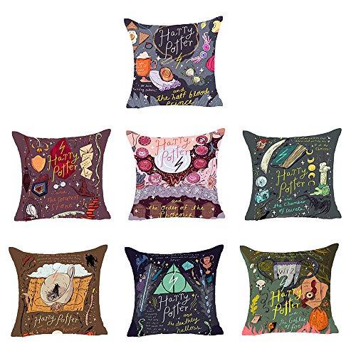 GUANSHU BZ Harry Potter Santo Grial Dolby Magia Arte Pintado a Mano Creativo Abrazo de algodón Funda de Almohada para sofá Dormitorio 18 x 18 Pulgadas Juego de 7