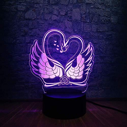 3D-lichtgeschenk, romantisch, romantisch, roze, dubbele badkuip, USB-lamp, 3D-ledlamp, 7 kleuren, kleurverandering, sfeerwisseling, nachtlampje, decoratie voor thuis, feestliefhebbers, verjaardagscadeau met afstandsbediening