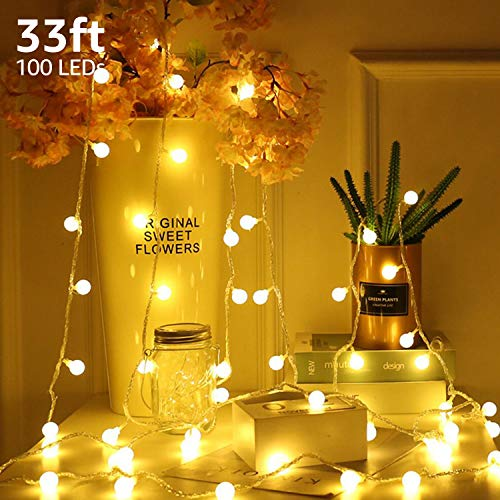 TORCHSTAR 33ft 100 LEDs Globe String Light Kit, 8 Modes Decorative Lighting, PC Coated Copper Wires, Waterproof, for Holiday, Christmas, Thanksgiving, Party, Wedding, Warm White