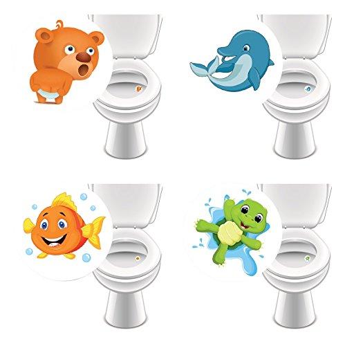 8 x Aufkleber LIEBLINGSTIERE für WC, Toilettensticker lustig Kinder Badausstattung damit Jungs besser zielen