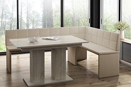 Mystylewood Eckbank Marta Creme mit Säulentisch Eiche Küchenbank Sitzecke dick gepolstert Kunstleder pflegeleicht stabiles Holzgestell 168x128R