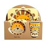 Ansemen Plato Divisor para bebés, vajilla de Fibra de bambú Juego de 5 Piezas Bol portátil para niños pequeños Lion