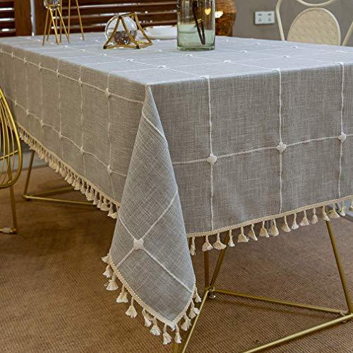 Pahajim Karierte Tischdecke Abwaschbar Baumwolle und Leinen Tischtuch Couchtisch dekorative staubdichte Gartentischdecke Küchentischabdeckung (Grau Gitter,Quadrat,140x140cm)
