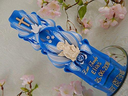 Geschnitzte Taufkerze Kommunionkerze blau für Jungen mit Schutzengel Taube Kreuz inkl. Name und Datum 20 cm