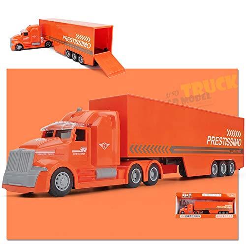 ZhaoXH Kinder Langen Container-LKW LKW-Transporter Modell Simulation Engineering Fahrzeug Auto mit Licht und Musik für Junge Auto Spielzeug-Sammlung Geschenke (Color : Orange)