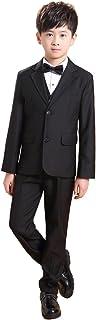 (AIMI)子供 ボーイズ 男の子 フォーマル スーツ ブラック 上下セット 8点セット 子供服 卒業式 入学式 結婚式 キッズ 黒無地 入園式 お宮参り NT004